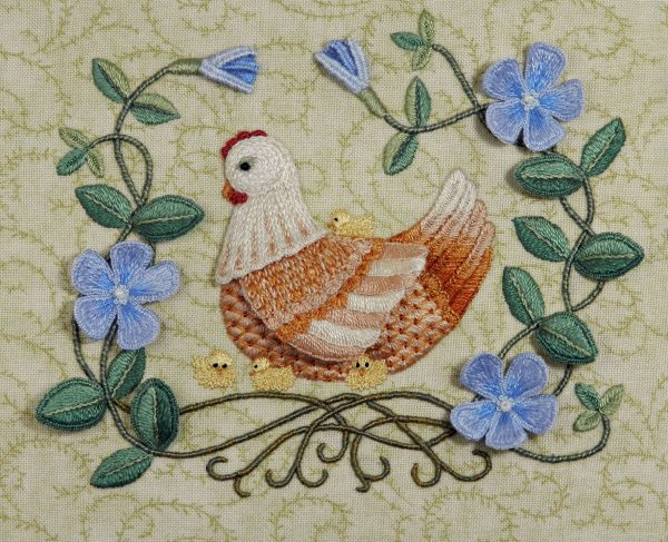 Mother hen & periwinkle raised embroidery kit