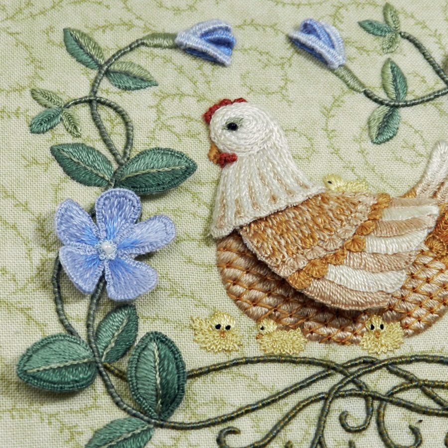 'Mother Hen & Periwinkle' Raised Embroidery detail
