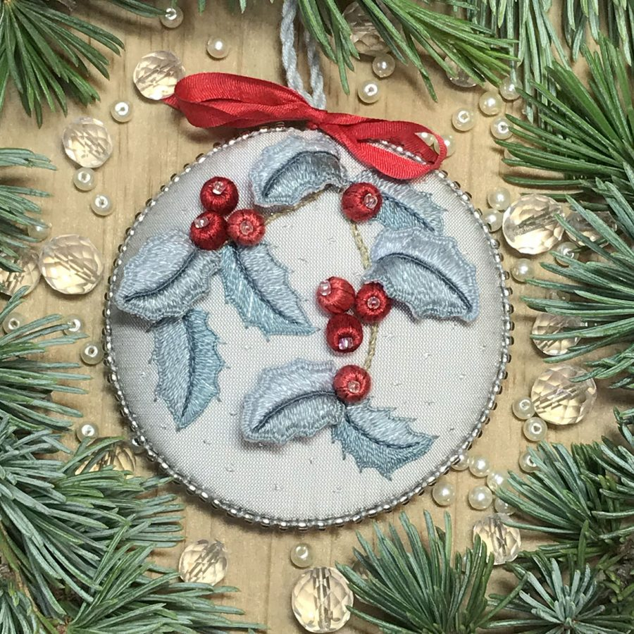 Christmas decoration HAPPY HOLLY raised embroidery