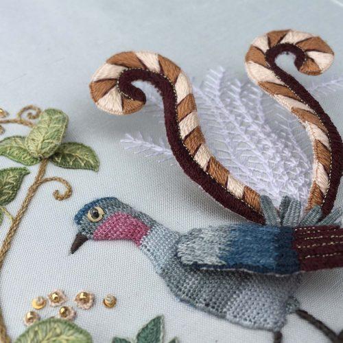 'Superb Lyrebird' Raised embroidery detail by Anna Scott